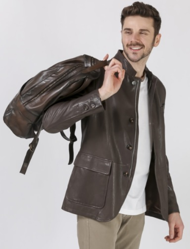 Men's Pocket Leather Jacket Combinations