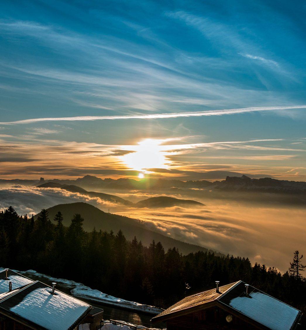 Coucher de soleil sur Grenoble depuis Chamrousse