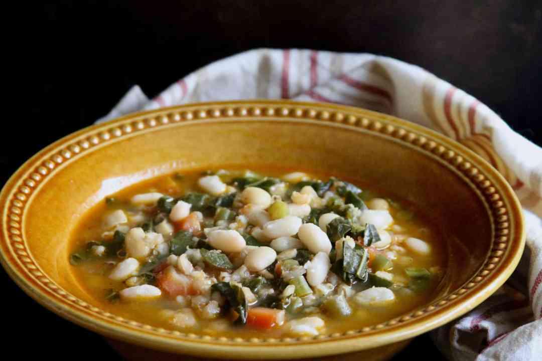 White Bean, Barley & Mustard Greens Soup