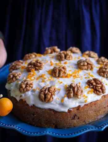 Eggless Wholewheat Carrot Cake moist, fresh orange flavoured, walnuts, dessert, baking, cream cheese frosting, teatime