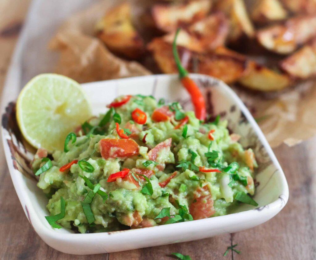 Guacamole w/ Roast Potatoes vegan healthy easy snacking