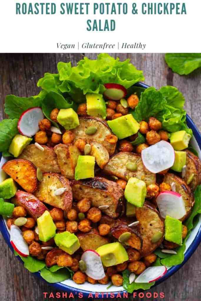 Roasted Sweet Potato and Chickpea Salad Healthy Glutenfree Vegan Recipe
