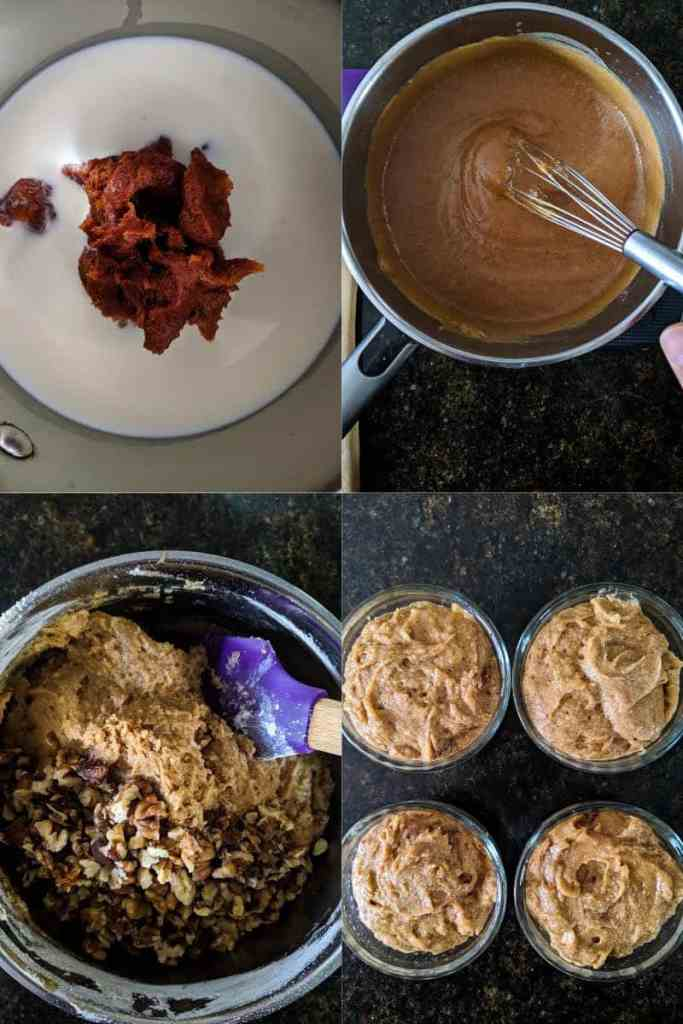 Process of making Vegan Sticky Toffee Pudding Glutenfree Dairyfree Refined Sugarfree Dessert