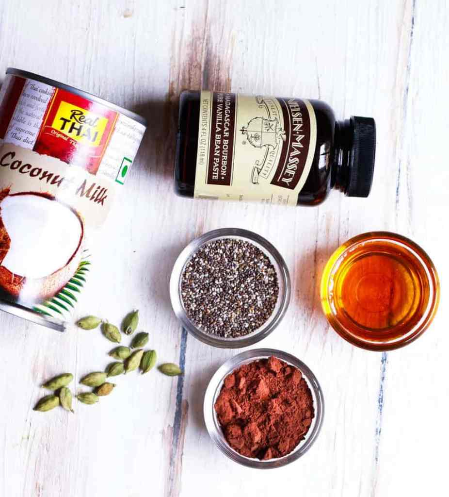 Ingredients for Chocolate Chia Pudding | Easy Healthy Vegan Recipe