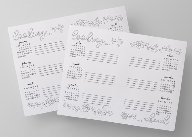 "Free printable 2018 ""future log"" or ""looking ahead"" calendar. Print and trace into your bullet journal, cut in half and use in your planner, use it as a coloring page! Easy!"