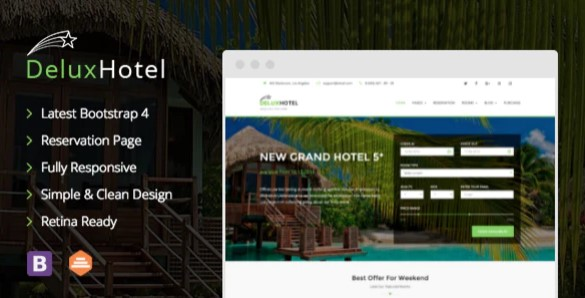 Deluxe Hotel Responsive Bootstrap 4 Template For Hotels