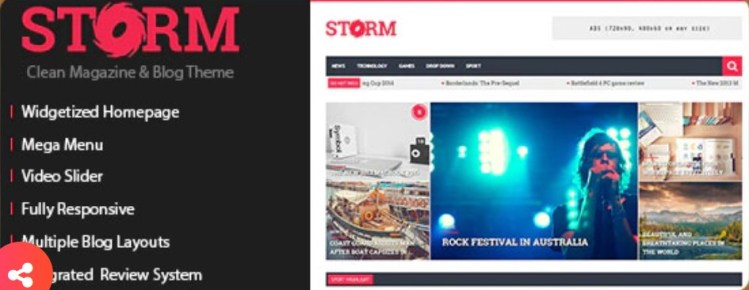 Storm Clean Magazine and Blog Theme
