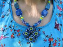 Blue & Yellow Diamond Patience in Bloom Necklace