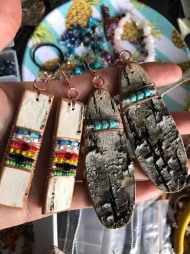 Large Birch Bark, Beads, & Copper Earrings