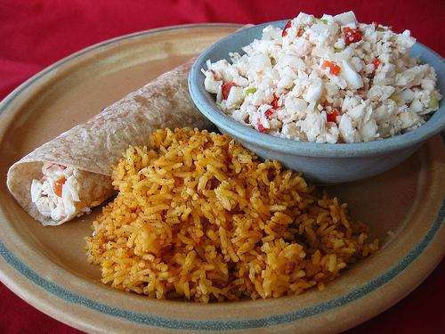 Chicken Kelaguen with Red Rice