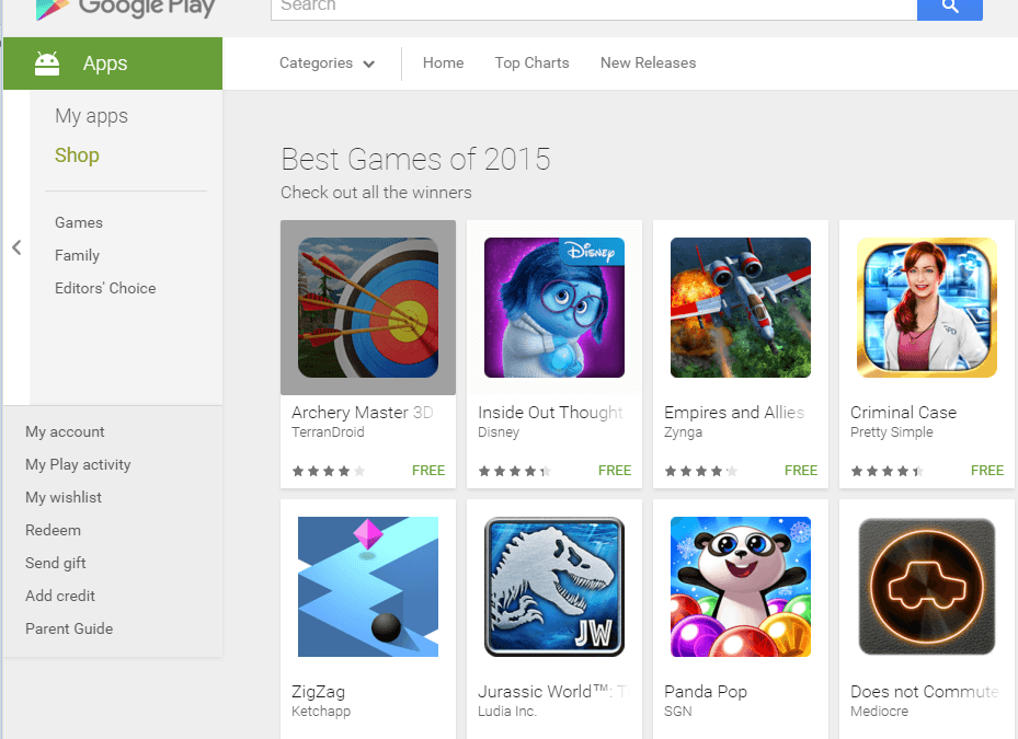 Google Play Store publishes lists of the best apps and best games of 2015