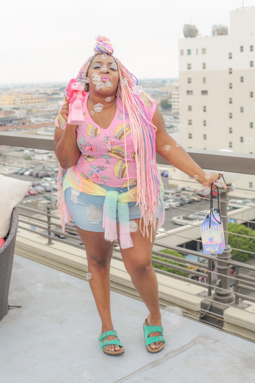 Amina Burger Shirt and Bubbles