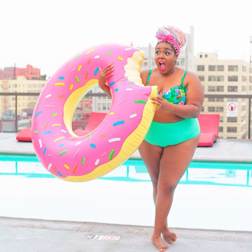 pink donut float