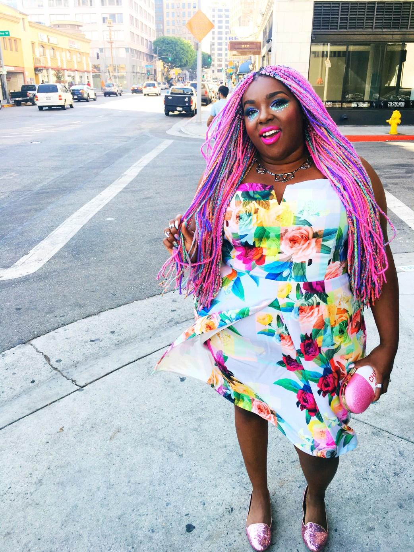 Amina Mucciolo Rainbow hair