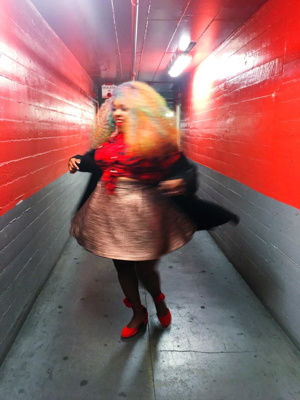 Amina plus size gold skater skirt