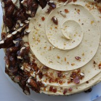 Soured Cream Chocolate Cake with Salted Caramel Buttercream and Almond Brittle