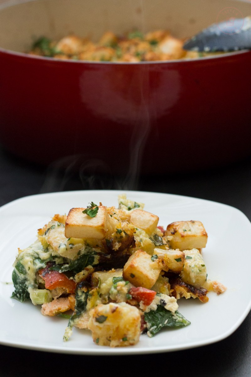 Layered Salmon Crumble with Gruyère Potatoes | Taste and Tipple