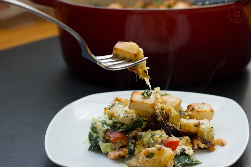 Layered Salmon Crumble with Gruyère Potatoes   Taste and Tipple
