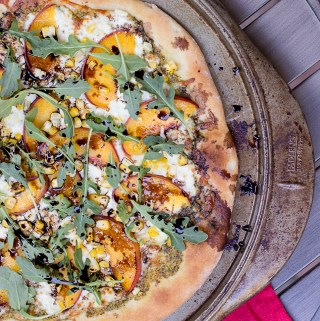 Balsamic Peach & Pesto Pizza