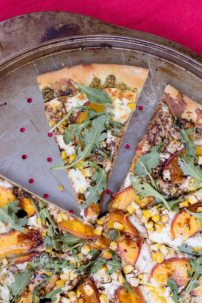 Balsamic Peach & Pesto Pizza | Taste and Tipple