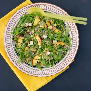 Grilled Summer Farro Salad with Cilantro Lime Dressing