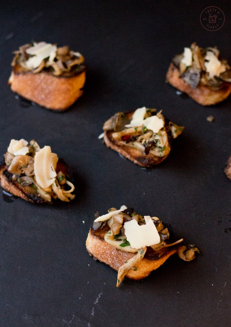 Herbed Mushroom Parmesan Crostini | Taste and Tipple