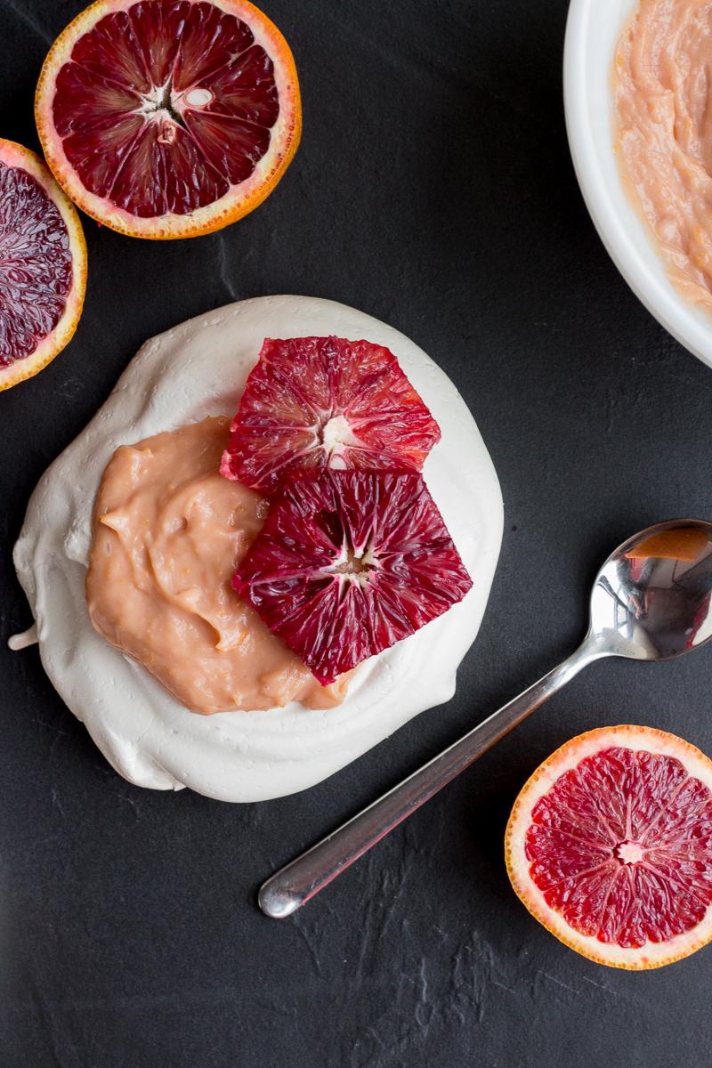 Vanilla Pavlova with Blood Orange Curd | Taste and Tipple