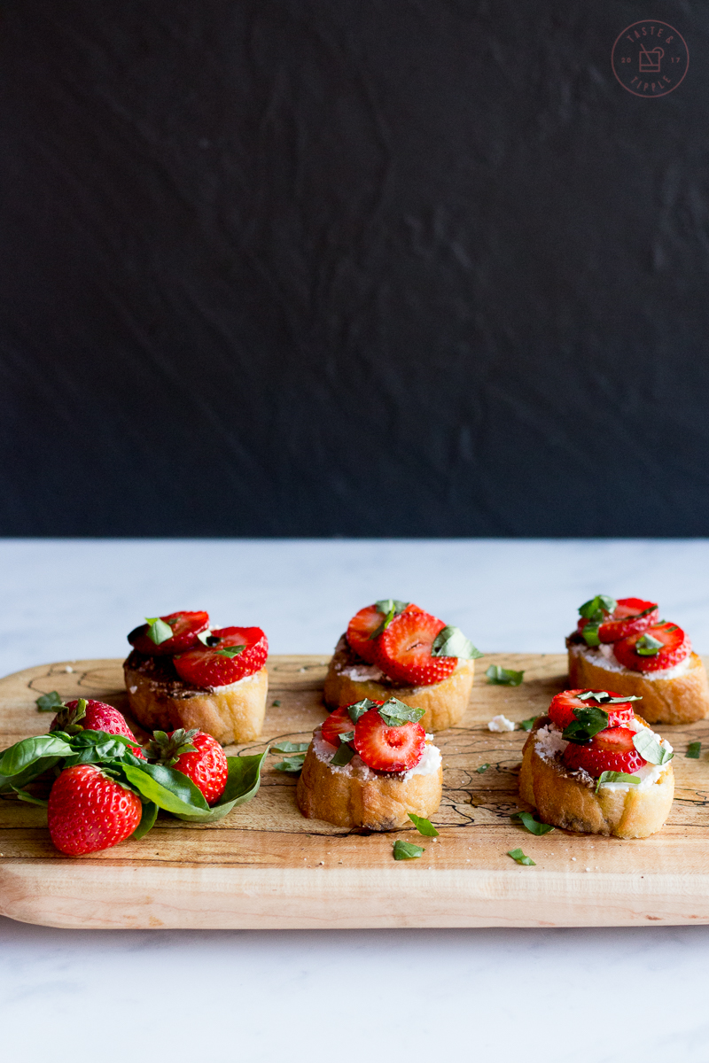 Strawberry Basil Crostini | Taste and Tipple
