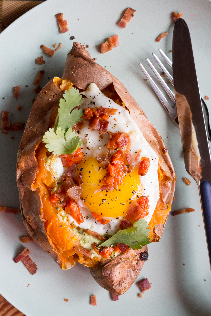 Bacon and Egg Sweet Potato Boat   Taste and Tipple
