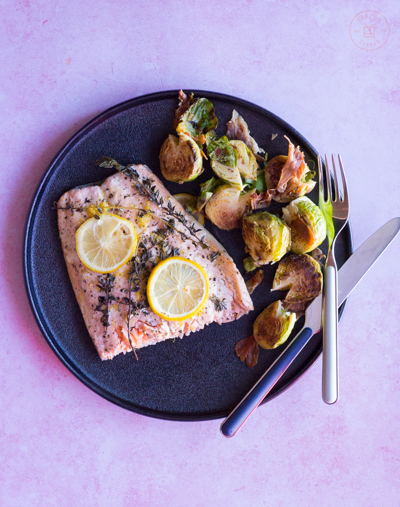 Lemon Roasted Salmon and Brussels Sprouts with Prosciutto Chips | Taste and Tipple