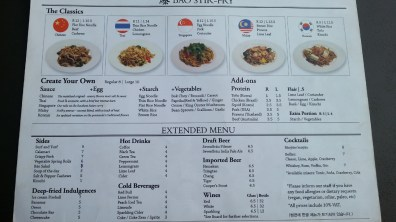 Menu at Bao Stir-Fry