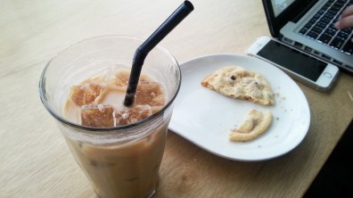 Macadamia Nut Latte and Chocolate Chip Cookies at Berkeley Coffee Social
