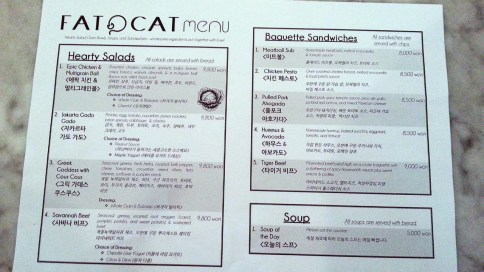 Fat Cat's Menu