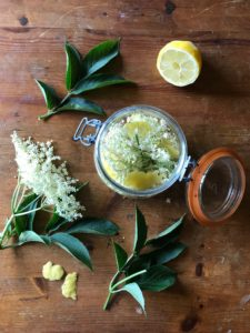 Gin and elderflowers