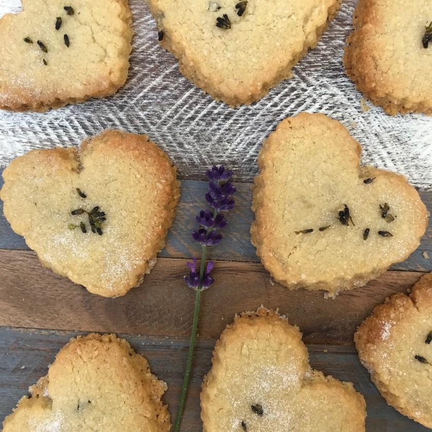 Lavender shortbread, lavender cookies, lavender biscuits, lavender hearts