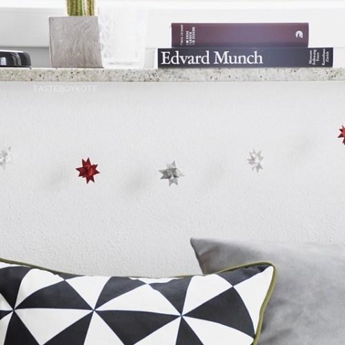 DIY Girlande Fröbelsterne moderne Weihnachtsdeko basteln selbermachen. Tasteboykott.