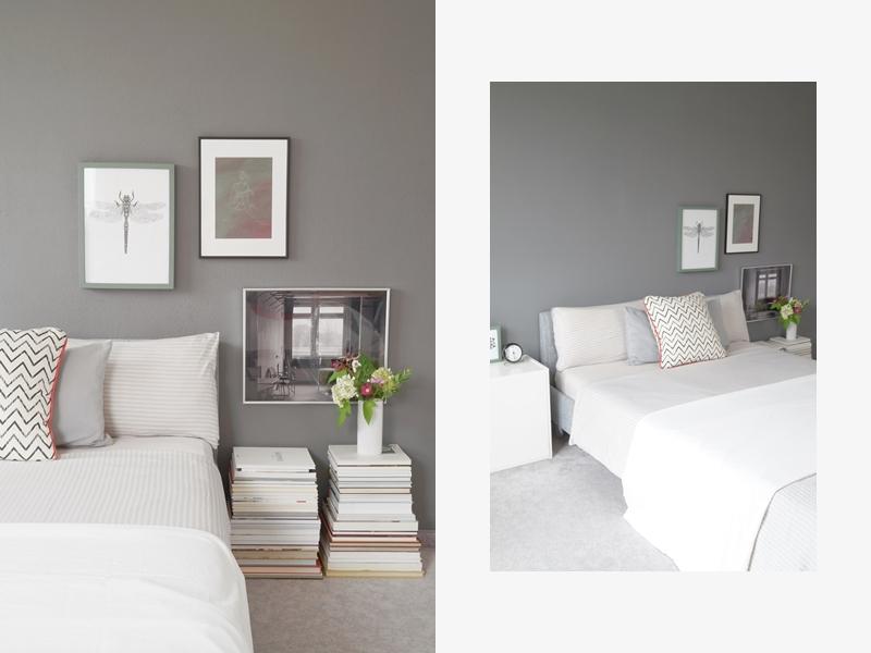 Schlafzimmer mit grauer Wandfarbe - Tasteboykott