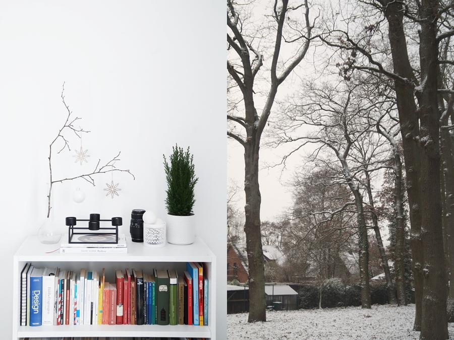 Moderne minimalistische Weihnachtsdeko in schwarz-weiß und Schnee in Oldenburg. Dezember Monatsrückblick.