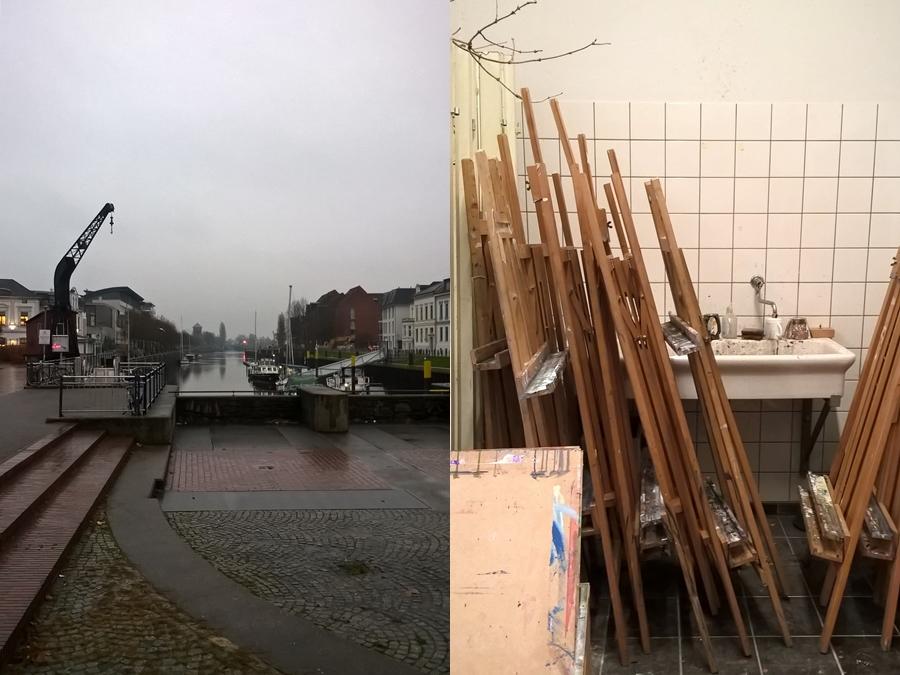Hafen in Oldenburg und Staffeleien im Atelier.