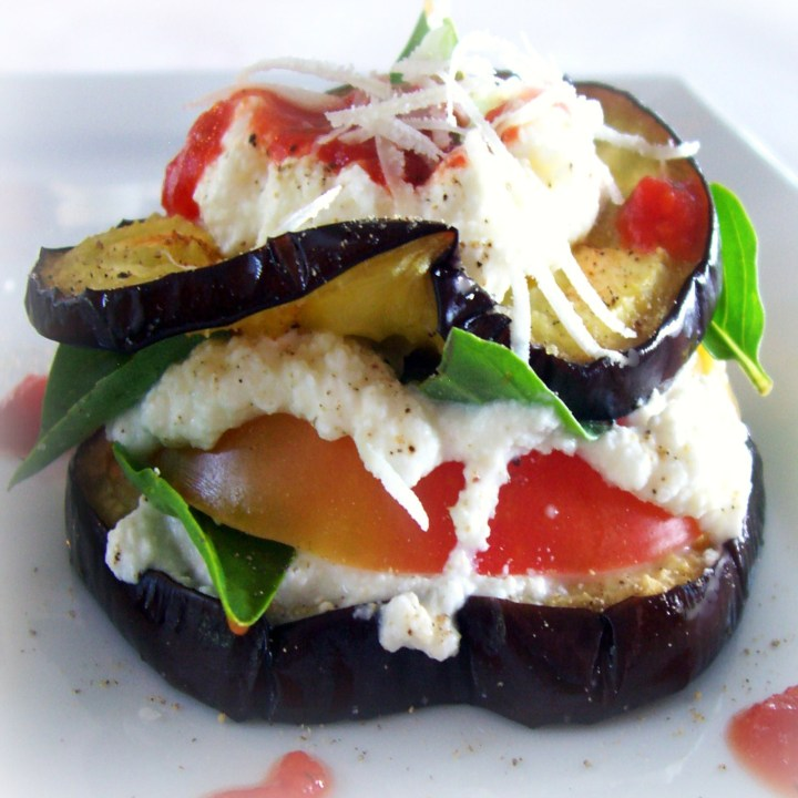 Grilled Eggplant and Heirloom Tomato Stacks with Basil and Tomato Coulis