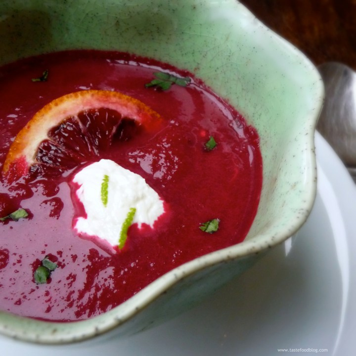 Roasted Red Beet, Blood Orange and Ginger Soup with Orange Crème Fraîche