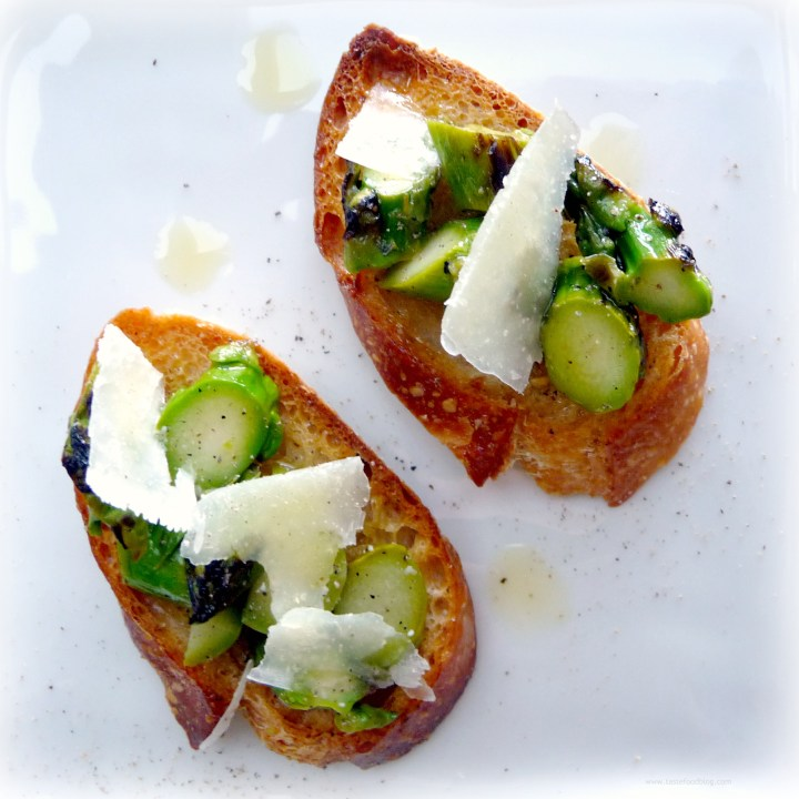 Roasted Asparagus Crostini with Pecorino Cheese and Truffle Oil
