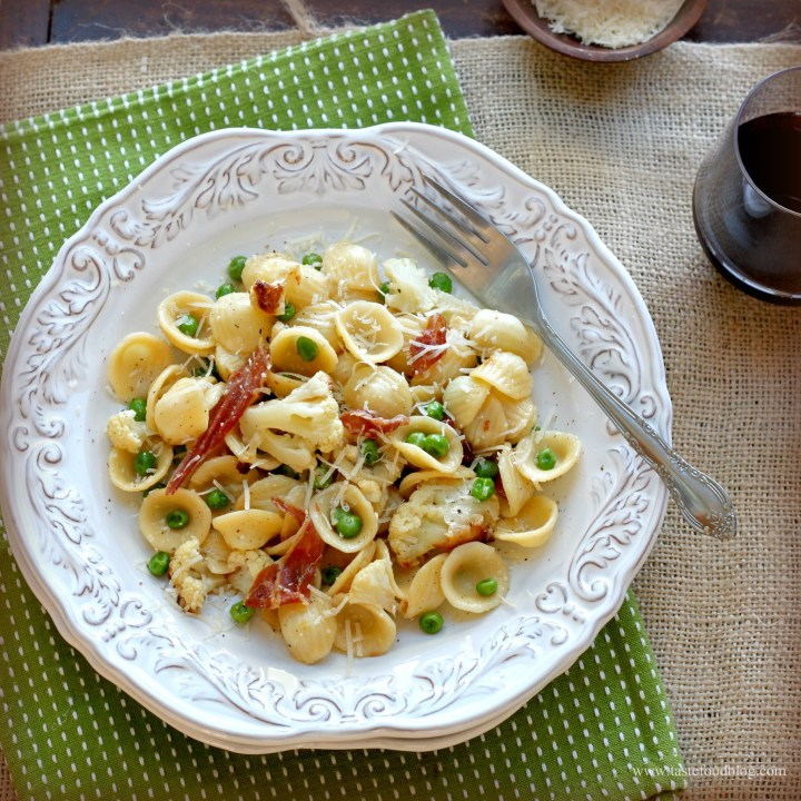 Orecchiette with Roasted Cauliflower, Prosciutto and Peas