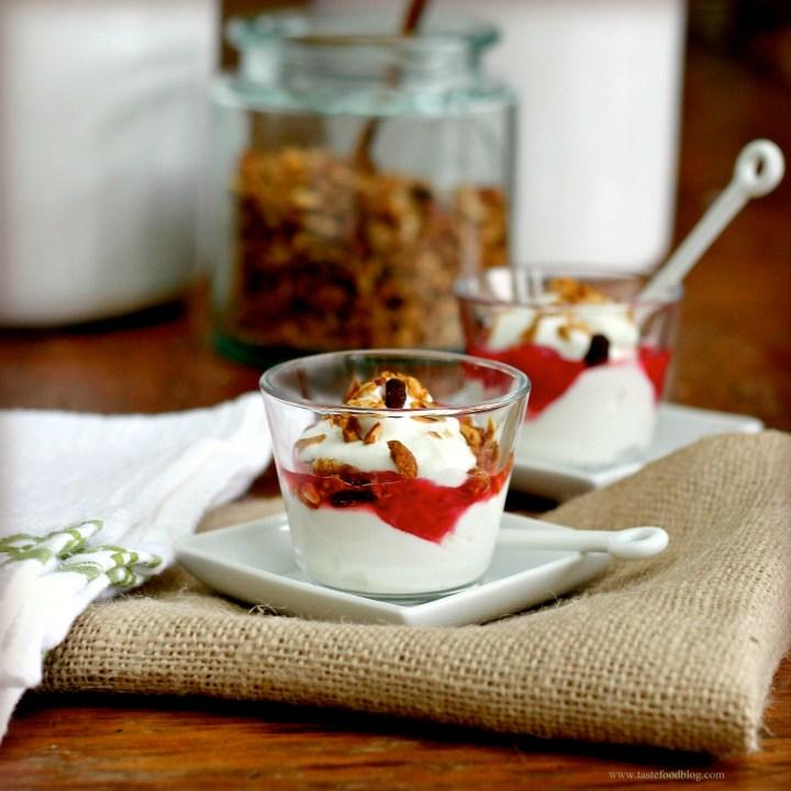 Yogurt Parfaits with Rhubarb Compote and Almond Granola