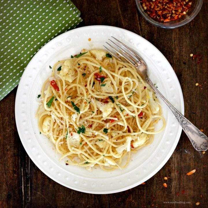Spaghetti with Cauliflower, Chile and Parsley Gremolata