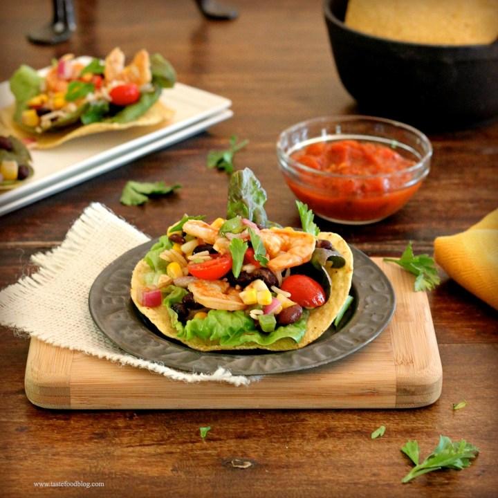 Shrimp Tostadas with Black Bean and Corn Salsa