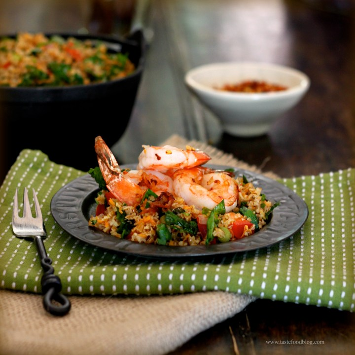 Why I Cook and a recipe for Shrimp, Bulgur and Kale Salad