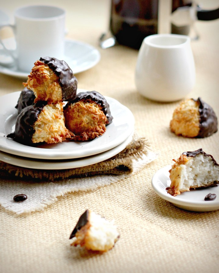 Chocolate Dipped Macaroons - Gluten Free!