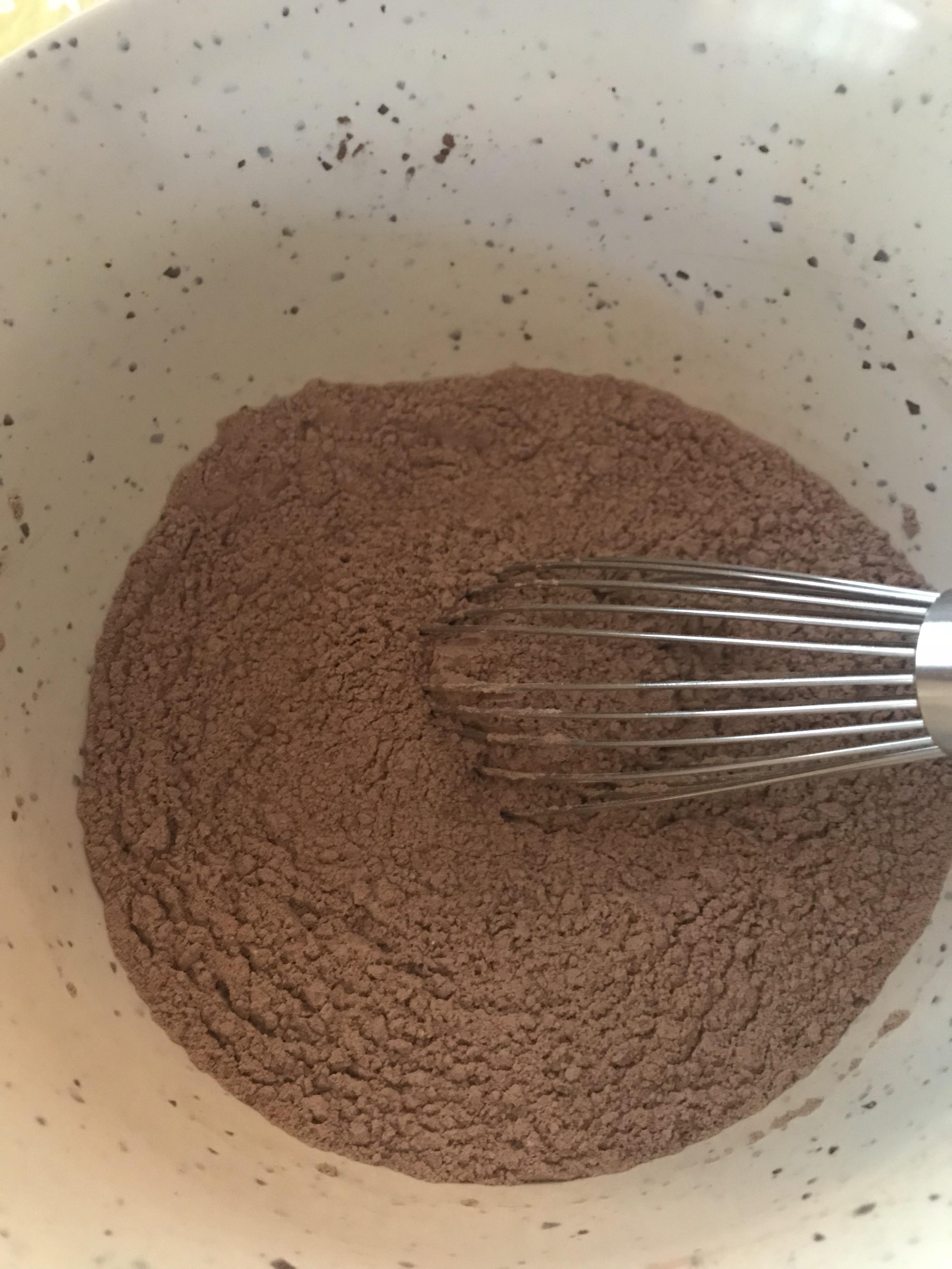 Whisk dry ingredients for Chocolate Espresso Crackle Cookies
