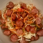 Oven Roasted Sausage and Peppers over Orzo
